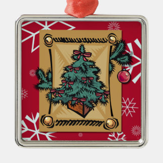Christmas Past Silver-Colored Square Decoration