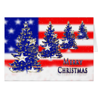 CHRISTMAS - PATRIOTIC - FLAG AND TREES GREETING CARD