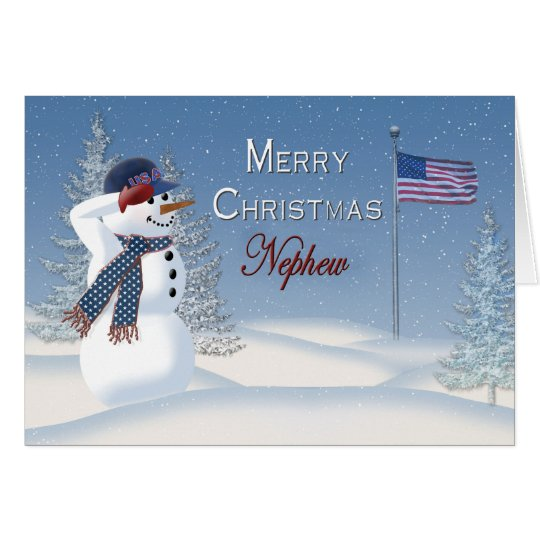 Christmas - Patriotic - Nephew -Snowman/Saluting Card