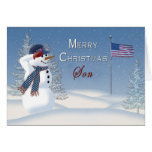 Christmas - Patriotic - Son -Snowman/Saluting Greeting Card