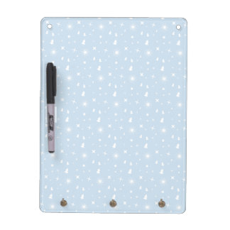 Christmas Pattern Baby Blue Stars White Dry-Erase Whiteboard