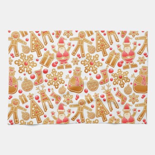 Christmas Pattern-Santa Claus Tree Rudolph Snowman Tea Towel