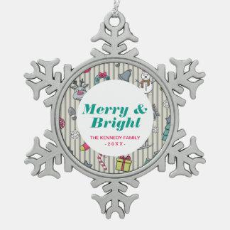 Christmas Pattern Snowflake Pewter Christmas Ornament