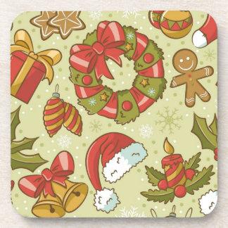 Christmas Pattern Vintage Style Coaster
