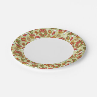 Christmas Pattern Vintage Style Paper Plate
