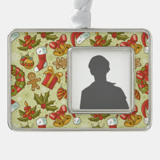 Christmas Pattern Vintage Style Silver Plated Framed Ornament