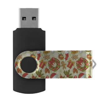 Christmas Pattern Vintage Style USB Flash Drive