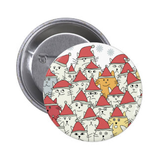 Christmas pattern with a lot of funny cats 6 cm round badge