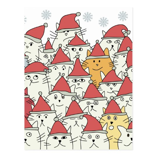 Christmas pattern with a lot of funny cats