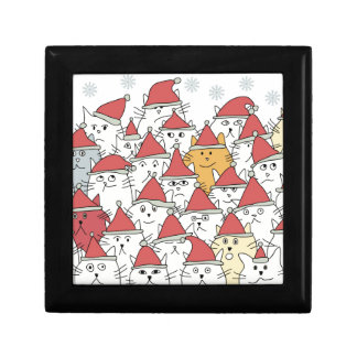 Christmas pattern with a lot of funny cats small square gift box