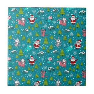 Christmas pattern with funny little animals. ceramic tiles