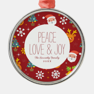 Christmas pattern with Santa and reindeer Silver-Colored Round Decoration