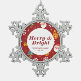 Christmas pattern with Santa and reindeer Snowflake Pewter Christmas Ornament