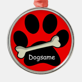 Christmas Paw Print and Bone Custom Dog's Name Silver-Colored Round Decoration