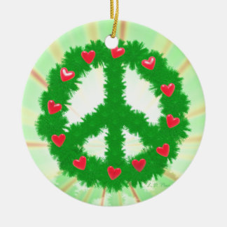 Christmas Peace Hearts Wreath Christmas Ornament