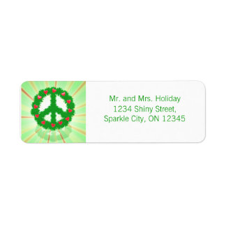 Christmas Peace Hearts Wreath Return Address Label