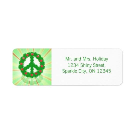 Christmas Peace Hearts Wreath Return Address Label