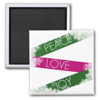 Christmas Peace, Love, Joy Snowflakes Magnet