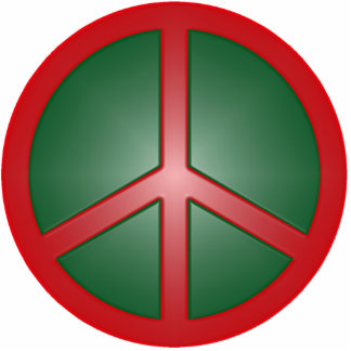 Christmas Peace Sign Photo Sculpture Decoration