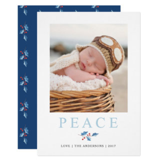 Christmas Peace Watercolor Holly Branch Holiday Card