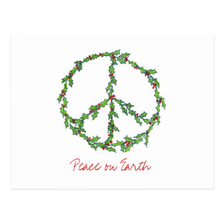 Christmas Peace Wreath, Peace on Earth Postcard