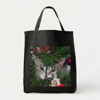 Christmas Peek-a-boo Cat ~ Tote Bags