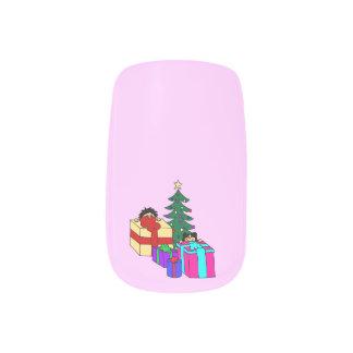 Christmas peeking minx nail art