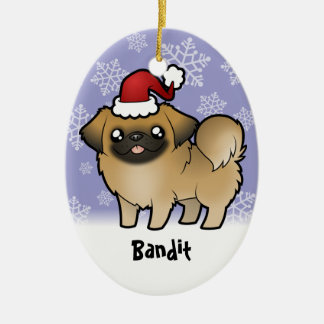 Christmas Pekingese (puppy cut) Ceramic Oval Decoration