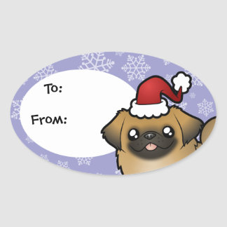 Christmas Pekingese (puppy cut) Oval Sticker