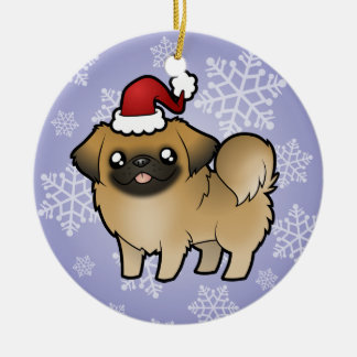 Christmas Pekingese (puppy cut) Round Ceramic Decoration