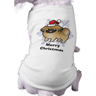 Christmas Pekingese (puppy cut) Sleeveless Dog Shirt