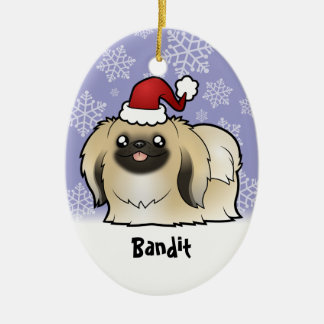Christmas Pekingese (show cut) Ceramic Oval Decoration
