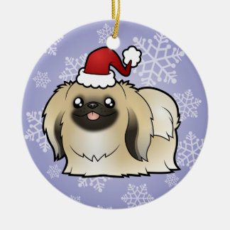 Christmas Pekingese (show cut) Round Ceramic Decoration