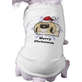 Christmas Pekingese (show cut) Sleeveless Dog Shirt