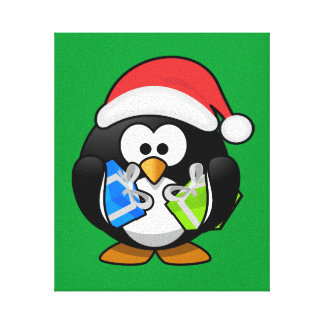 Christmas Penguin Gallery Wrapped Canvas