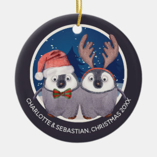 Christmas Penguin Couple Cute Santa and Reindeer Christmas Ornament