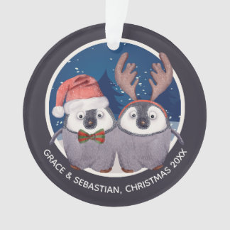 Christmas Penguin Couple Cute Santa and Reindeer Ornament