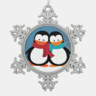 Christmas Penguin Couple Snowflake Pewter Christmas Ornament