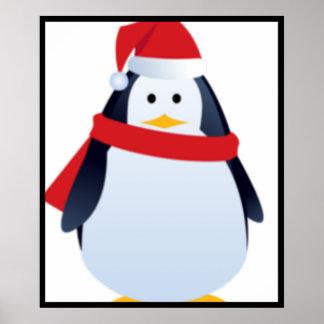 Christmas Penguin Face Poster