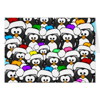 Christmas Penguin Family Greeting Card