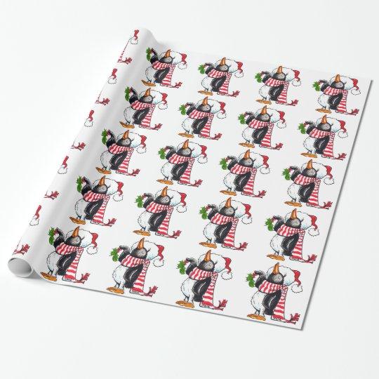 Christmas Penguin Holding Mistletoe Wrapping Paper