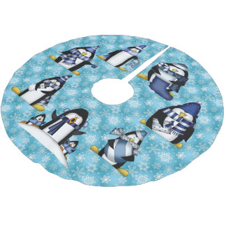 Christmas penguin Holiday tree skirt
