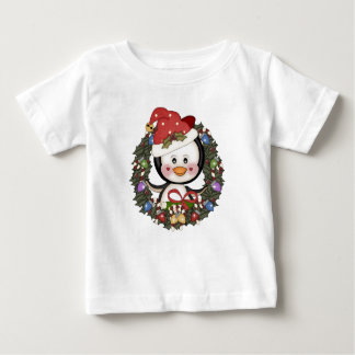 Christmas Penguin Holiday Wreath Baby T-Shirt