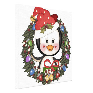 Christmas Penguin Holiday Wreath Gallery Wrapped Canvas