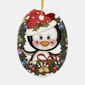 Christmas Penguin Holiday Wreath Christmas Ornament