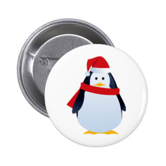 Christmas Penguin In A Santa Hat 6 Cm Round Badge