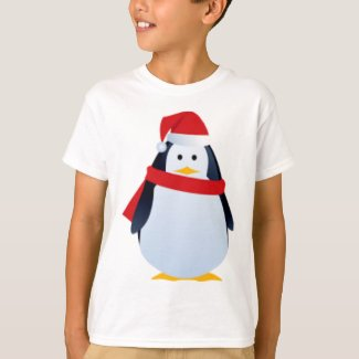 Christmas Penguin In A Santa Hat T-Shirt