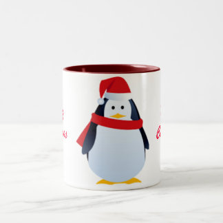 Christmas Penguin In A Santa Hat Two-Tone Coffee Mug