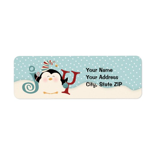 Christmas Penguin Joy Address Return Address Label