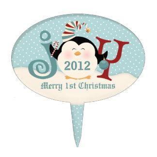 Christmas Penguin Joy Oval Cake Toppers
